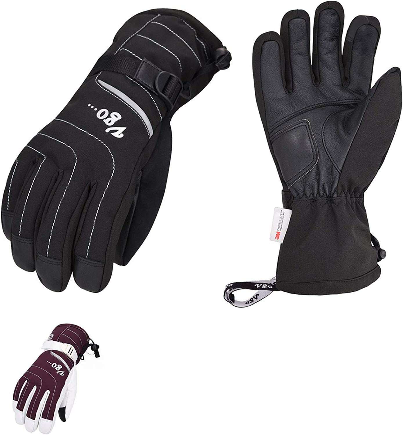 1 year warranty Vgo 2-Pairs Leather Complete Free Shipping Winter Warm Ladies SF-GA2 Skiing Gloves for