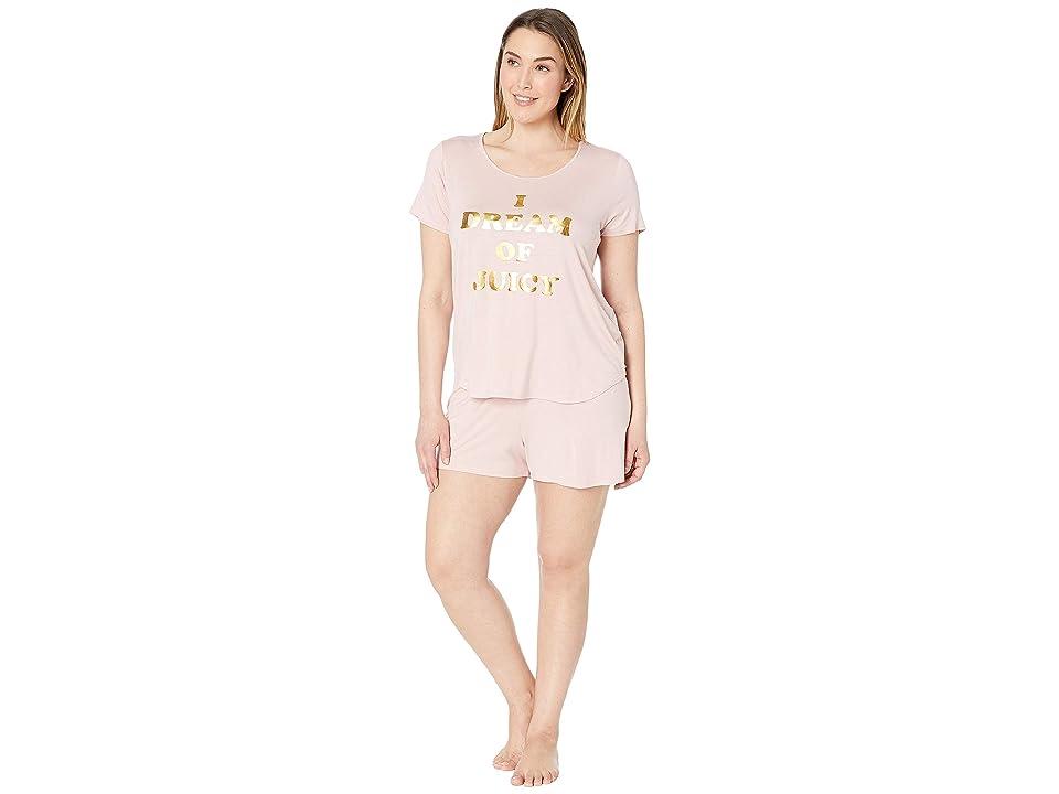 Juicy Couture Juicy Dreamer Sleep Tee/Shorts Set (Silver/Pink) Women