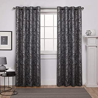 Exclusive Home Curtains Watford Distressed Metallic Print Thermal Window Curtain Panel Pair with Grommet Top, 52x96, Black Pearl, Silver, 2 Piece