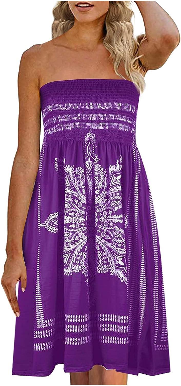 ManxiVoo Dresses for Women Beach Strapless Boho Floral Print Sundress Elastic Ruched Tube Top Mini Dress