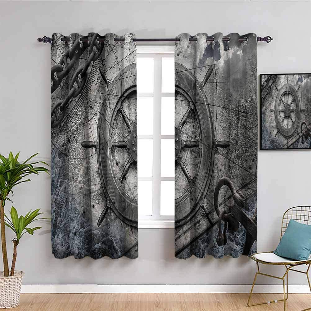 Ships Wheel Decor Max 47% OFF Room Darkened Curtain Navigation Equip Vintage High quality