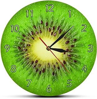 Relojes de pared Fruta de verano Kiwi Diseñado Reloj de pared verde Fruta de kiwi Rebanada fresca Reloj redondo Actinidia Berry Cocina Decoración de pared Reloj Reloj Caminar preciso y silencioso