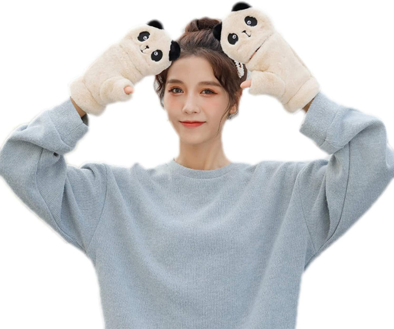 Women Winter Gloves Half Finger Fluffy Plush Glove Cartoon Panda Flip Top Warm Thermal Soft Lining Mittens