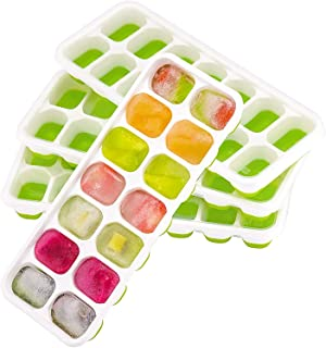 4 Packs Ice Cube Tray, Lfgb Certified BPA Free Moulds with Non-Spill Lid, Best for Freezer, Baby Food, Water, Whiskey, Coc...