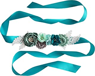 Baby Shower Maternity Floral Sash with Chiffon Flowers and Lace
