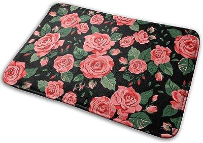 Roses Door Mat Rug Indoor/Front Door/Shower Bathroom Doormat, Non-Slip Doormats, 23.6 X 15.8 Inch