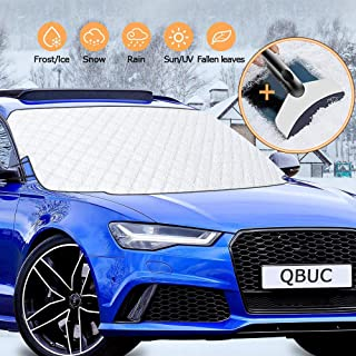 QBUC Car Windshield Snow Cover, Windshield Cover for Ice and Snow for Car with 4 Layers Protection Snow, Ice, Frost,UV Ful...