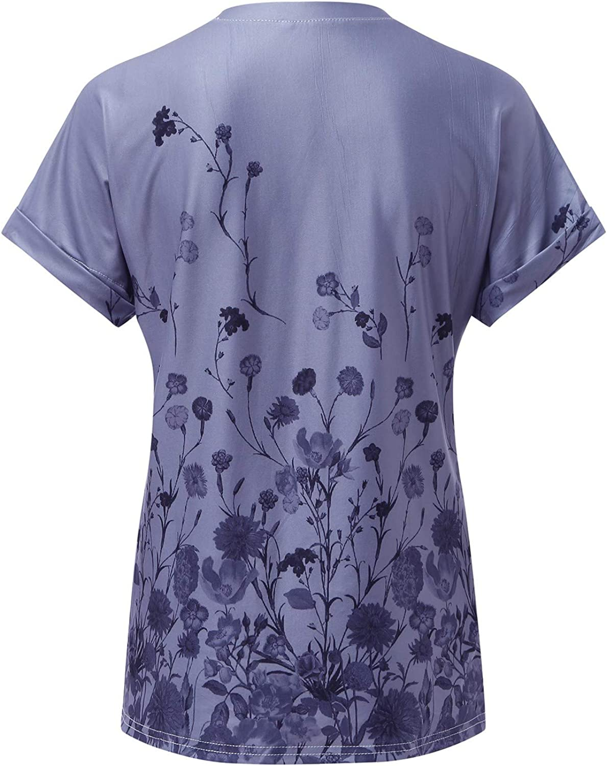 Vintage T-Shirts for Women Short Sleeve Floral Print Graphic Tees Casual O-Neck Tops