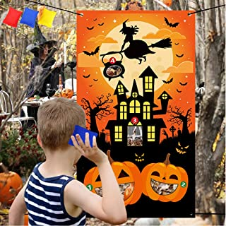 Halloween Toss Game with 3 Bean Bags - Halloween Party Supplies Trick Or Treat Pumpkins witches bats, Cornhole Games Party Decorations Banner Backdrop – Halloween Picnic Indoor Outdoor Travel Activity
