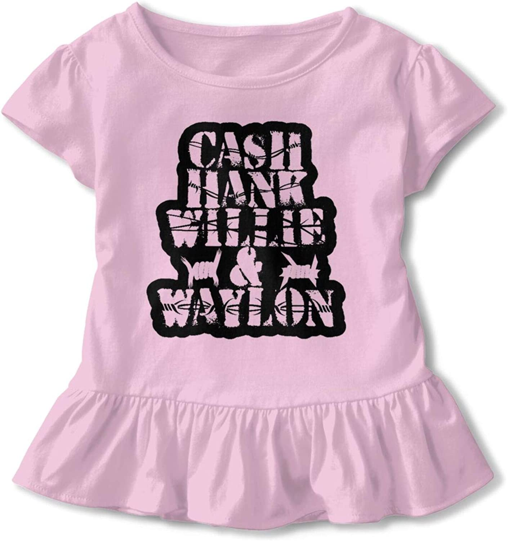 Cash Hank Super sale period limited Willie Waylon Girls' T-Shirt Cute Short-Sleeved Cheap bargain Cotton