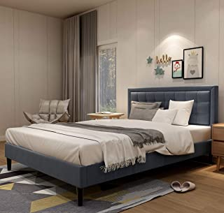 Upholstered Button Tufted Platform Bed with Headboard Strong Wood Slat Support Mattress Foundation Easy Assembly Dark Grey Queen