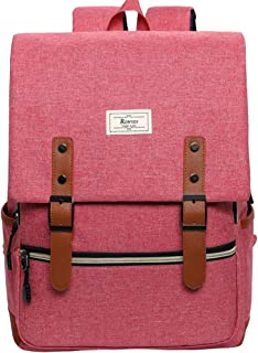 Unisex College Bag Fits up to 15.6'' Laptop Vintage Casual Rucksack School Bookbags Backpack Daypacks with USB Charging Port (Pink)