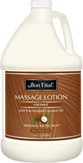 Bon Vital' Coconut Massage Lotion Made with 100% Pure Fractionated Coconut Oil, Lightweight Massage Lotion, Provides a More Relaxing Massage, with Intense Skin Hydrating and Moisturizing, 1 Gal Bottle