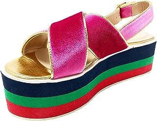 Vila Veloni Women Florencia Platform Wedge Sandals-Comfort Open Toe Buckle Strap Summer Casual Heeled Slip-on