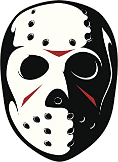 SERIAL KILLER HOCKEY MASK BLACK RED WHITE Vinyl Decal Sticker Two in One Pack (8 Inches Tall)