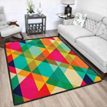 Geometric Abstract Design Area Rug,Abstract Geometric Pattern Vintage Inspired Retro Colors Old Style Graphic Art Maximum Absorbent Soft Multicolor 67