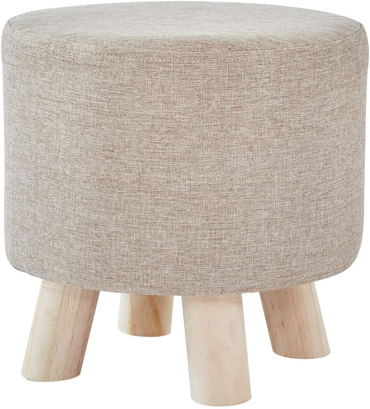 Padded Seat Bench with Wooden Legs Solid Wood Ottoman Change Shoes Stool for Living Room -Beige Cplxroc Farbic Small Footstool
