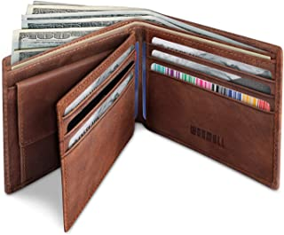 YOOMALL Men's Leather Wallet Bifold Wallet with Coin Pocket ID Window