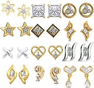 Kaizer Jewelry Present Combo of 12 Trendy American Diamond Earrings for Women Girls at Wholesale Price Earrings Gold Plated DS-66