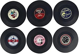 Vinyl Record Disc Retro Music Coasters, Set of 6 with Funny Perfect for Classic Music Lovers Art Car Bar Tea Coffee Table Mug Beer Bottle Beverages Absorbent for Wine Glass Rubber Black Cup Mat