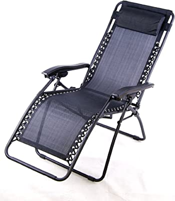 Outsunny Zero Gravity Recliner Lounge Patio Pool Chair, Black