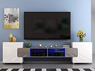 Meuble TV LED en MDF avec 4 Compartiments de Stockage + 2 Portes sur Salon et Chambre à Coucher, 230 x 35 x 53 cm (Gris+Bl...