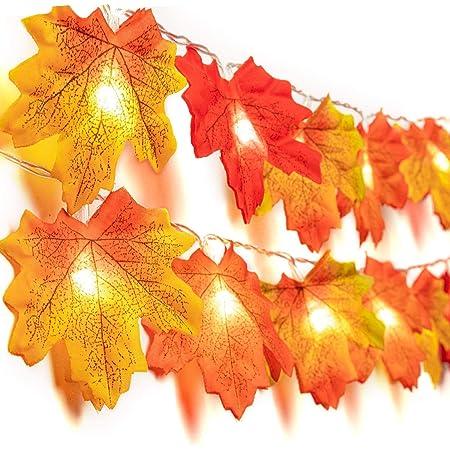 10//20//40 LED Fall Maple Leaves Fairy String Light Autumn Leaf Lamp Garland Decor