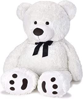 JOON Huge Teddy Bear With Ribbon, Tuxedo Edition, White