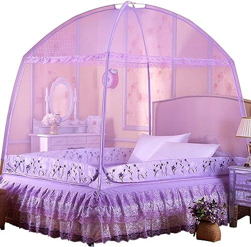 KE & LE Pliable Moustiquaire Tente, portable Pop Up Tente avec Bas pour Lit Chambre Plein Air Camping Violet-a W 150cmxh 170cmxd 200cm