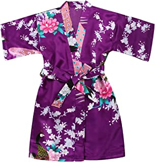 Girls Stain Kimono Peacock Flower Robe for Spa Wedding Birthday