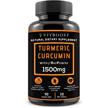 VITBOOST Turmeric Curcumin with BioPerine 1500 mg. All Natural, Non-GMO, Gluten Free & Vegan with The Highest Potency for Extra Strength for Pain Relief, Joint Support, Inflammation