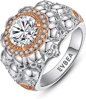 EVBEA Women Skull Engagement Rings Promise Rings for Her Sterling Silver Skull Engagement Wedding Bands