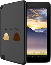 GinHo Customized Protective Cover with Slim Soft Durable TPU Ultra-Black Silicone UV Printing Case for Glittery Poop Emoji Kindle Fire 7