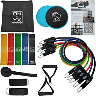 18pcs Resistance & Workout Set Includes: 5 Tube Fitness Exercise Bands | 5 Stretch Loop Bands | 2 Gliding discs | 2 Ankle Straps | 2 Foam Handles |Door Anchor & Workout Guide for Home Training Gym