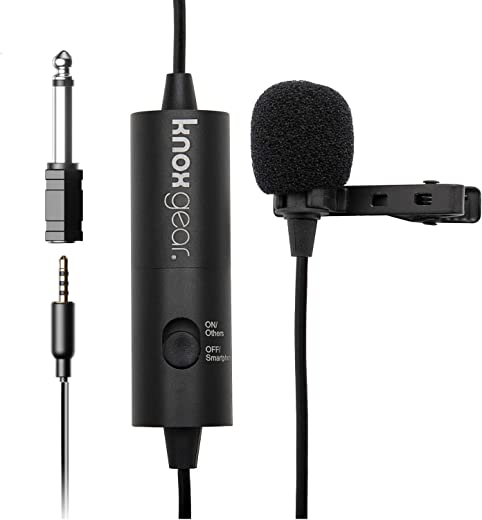 """Knox Clip-On Lavalier Microphone – Professional Hands Free Body Lapel Mic for Recording and Live Audio – 3.55mm Jack with 1/4"""" Adapter – Fits DSLR and Video Cameras, Phones, Computers"""