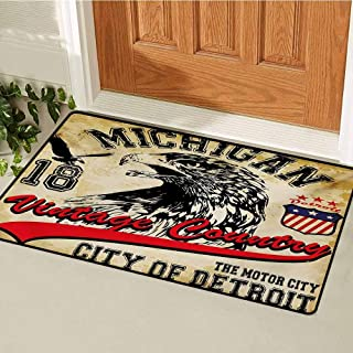 GUUVOR Eagle Front Door mat Carpet Hand Drawn City of Detroit Michigan Digital Art with a Portrait of an Eagle Machine Washable Door mat W23.6 x L35.4 Inch Pale Brown Black Red