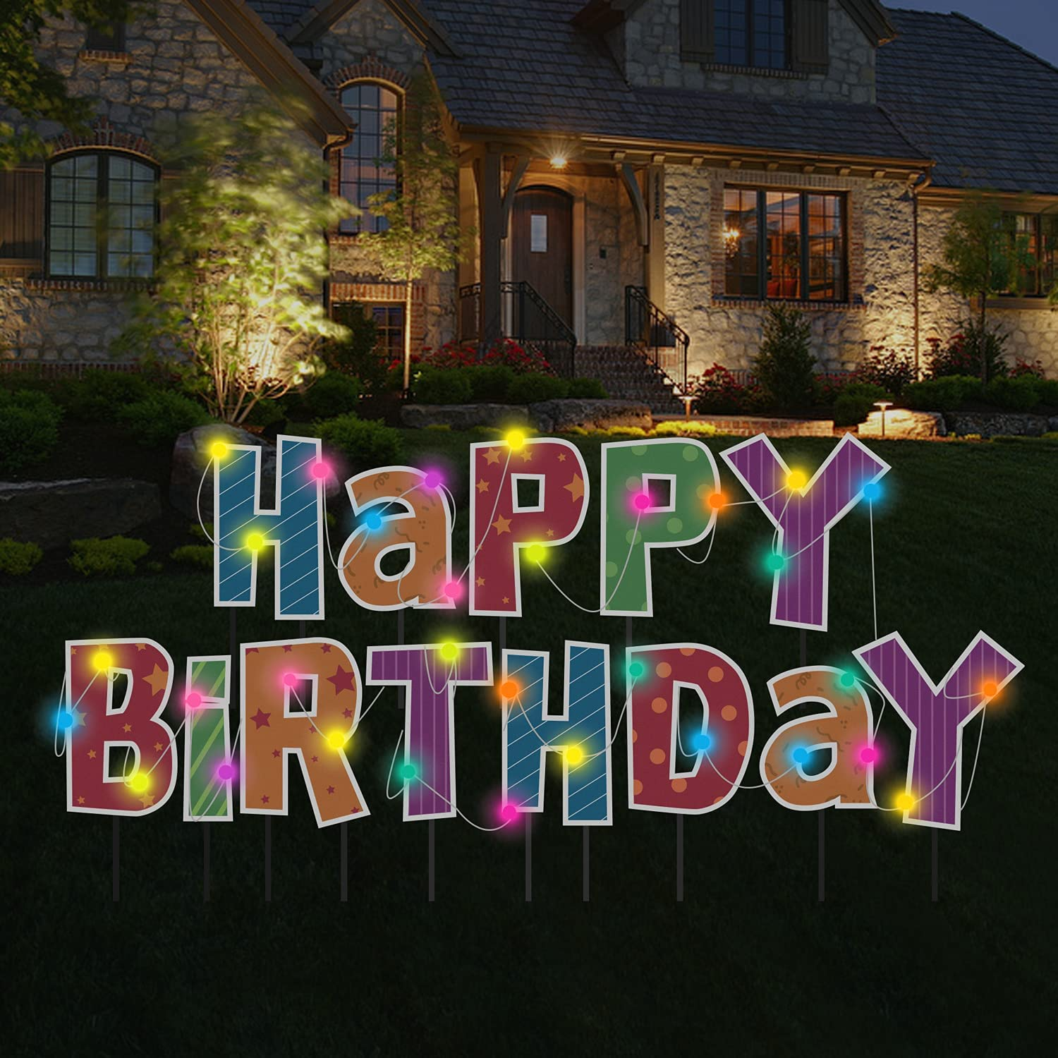San Jose Mall Luciole Happy Birthday Yard Sign with Set Stakes Large La of Indefinitely 13