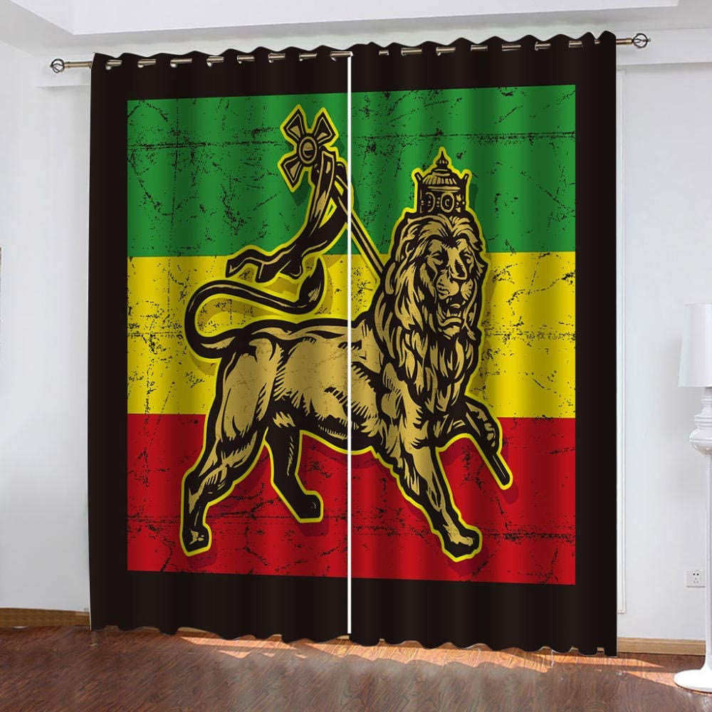 SDSONIU Blackout Curtains Kids Regular discount Room Draper Lion Sale price Yellow 3D Animal