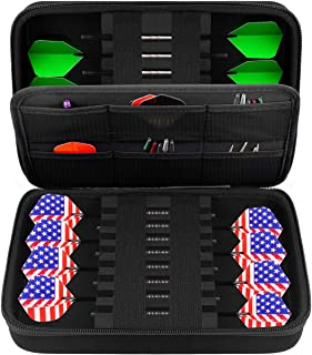 GWCASE Dart Case for 16 Steel Tip and Soft Tip Darts, Dart Carrying Storage Holder Fits for Dart Tips, Shafts and Flights ...