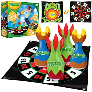 JOYIN Inflatable Lawn Darts Outdoor Games, Indoor Outdoor Games for Kids and Adults, - 3 Lawn Darts with 1 Circular Game p...