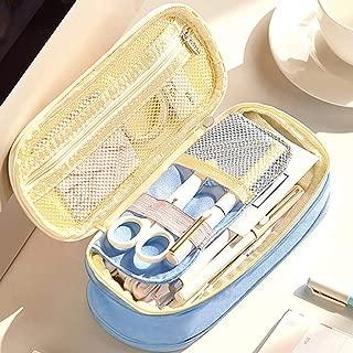 Oyachic Telescopic Pencil Case Large Capacity Zipper Pen Bag Canvas Makeup Stationery Box Office School Supplies Pouch L Blue