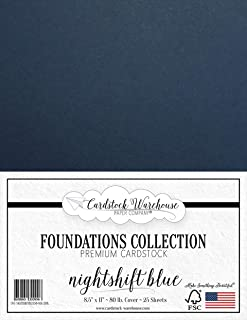 NIGHTSHIFT Blue/Dark Blue Cardstock Paper - 8.5 x 11 inch Premium 80 LB. Cover - 25 Sheets from Cardstock Warehouse