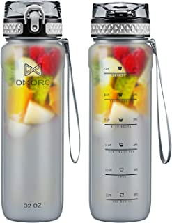 OMORC Sports Water Bottle with time marker-24oz,32oz, BPA Free Water Bottle, Fruit Infuser, Sport Water Bottle with Filter with Locking Flip Lid, Durable Fitness Workout Tritan Drinking Bottle