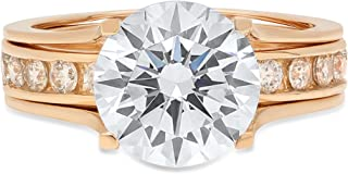Clara Pucci 2.89 CT Round Brilliant Cut Simulated Diamond CZ Designer Solitaire Pave Double Halo Bridal Wedding Anniversary Promise Ring Sliding Band Set Solid 14k Yellow Gold