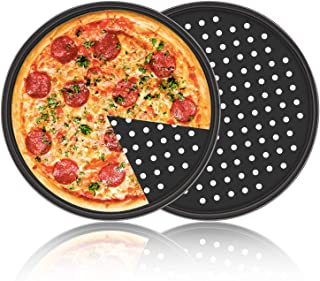 Pizza Pan with Holes, 2 Pack Segarty Carbon Steel Perforated Baking Pan with Nonstick Coating, 12 Inch Round Pizza Crispy Crust Tray Tools Bakeware Set Cooking Accessories for Home Restaurant