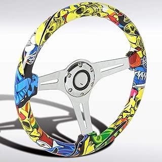 Autozensation 350mm Wooden Graffiti Style Yellow Skull 3 Spoke 6 Bolt Racing Steering Wheel
