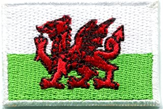 Flag of Wales Welsh red dragon celtic goth embroidered applique iron-on patch new size Medium