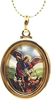 Saint Michael The Archangel Gold Plated Medal Necklace
