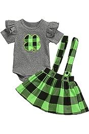 Strap Skirt St Patricks Day Plaid Outfits Sets Princess Costume Girls Dresses Baby Girls Skirts DressLksnf Girls Short Sleeve Romper
