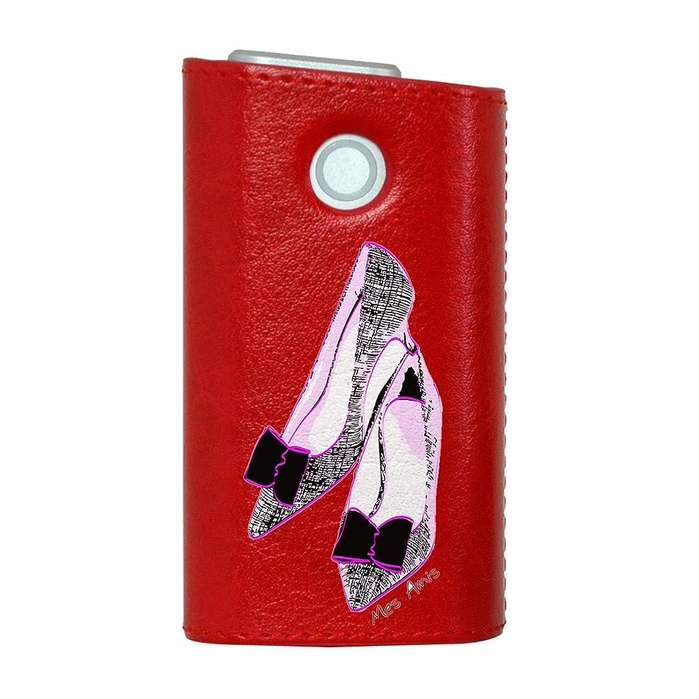 アナロジー最初は真向こうglo グロー グロウ 専用 レザーケース レザーカバー タバコ ケース カバー 合皮 ハードケース カバー 収納 デザイン 革 皮 RED レッド ラブリー ファッション イラスト 004726